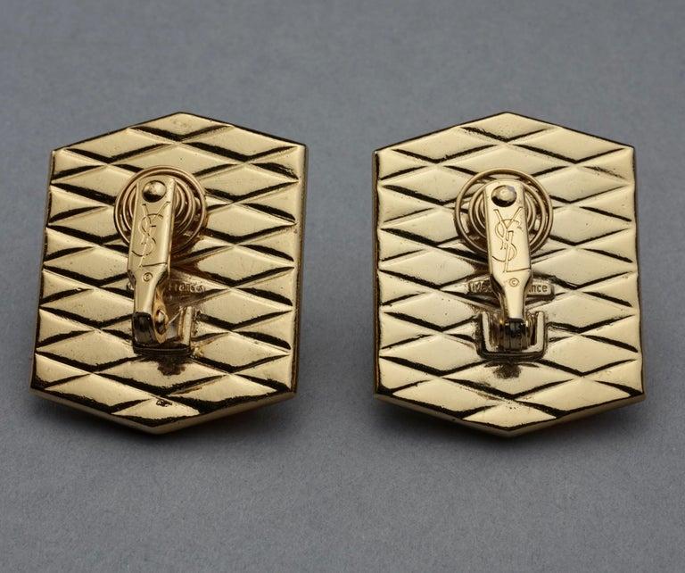 Vintage Massive YVES SAINT LAURENT Ysl Lucite Rhinestone Hexagon Earrings For Sale 7