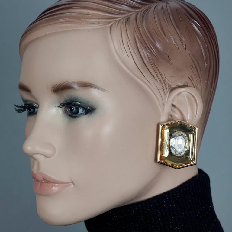 Vintage Massive YVES SAINT LAURENT Ysl Lucite Rhinestone Hexagon Earrings  Measurements: Height: 1.65 inches (4.2 cm) Width: 1.34 inches (3.4 cm) Weight per Earring: 21 grams  Features: - 100% Authentic YVES SAINT LAURENT. - Massive hexagon lucite