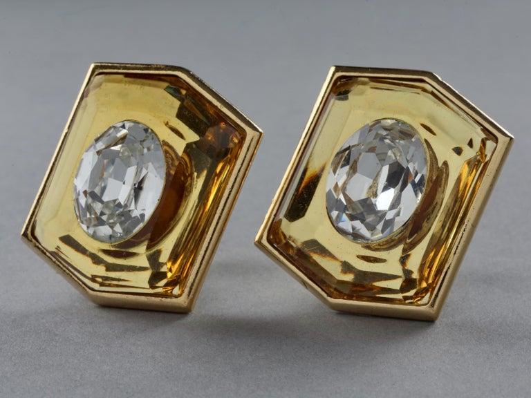 Women's Vintage Massive YVES SAINT LAURENT Ysl Lucite Rhinestone Hexagon Earrings For Sale