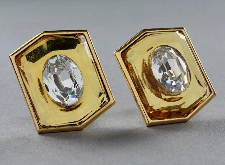 Vintage Massive YVES SAINT LAURENT Ysl Lucite Rhinestone Hexagon Earrings For Sale 1
