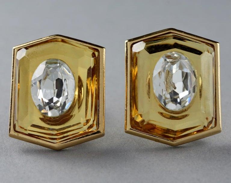 Vintage Massive YVES SAINT LAURENT Ysl Lucite Rhinestone Hexagon Earrings For Sale 2