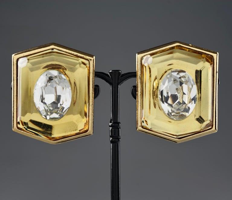 Vintage Massive YVES SAINT LAURENT Ysl Lucite Rhinestone Hexagon Earrings For Sale 3