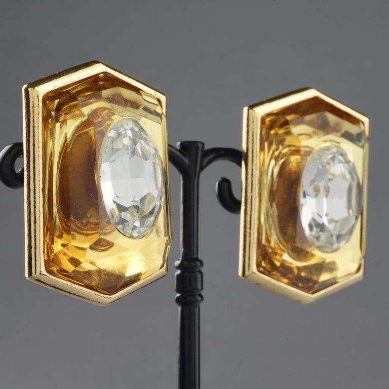 Vintage Massive YVES SAINT LAURENT Ysl Lucite Rhinestone Hexagon Earrings For Sale 5