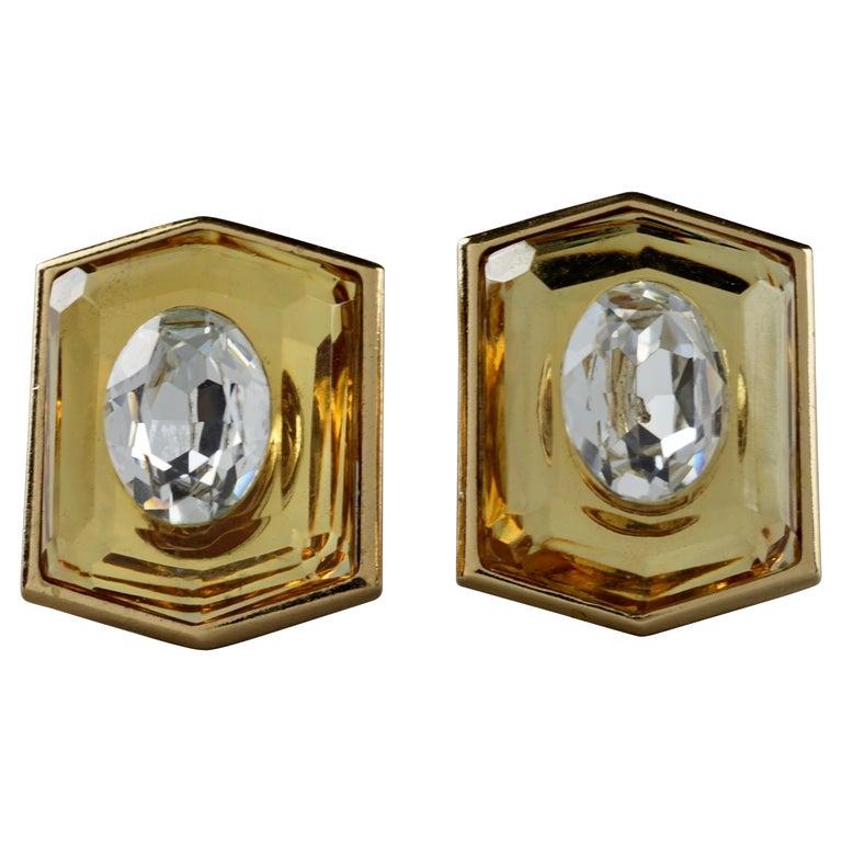 Vintage Massive YVES SAINT LAURENT Ysl Lucite Rhinestone Hexagon Earrings For Sale