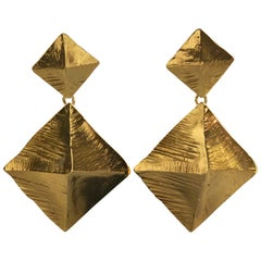 Vintage Massive YVES SAINT LAURENT Ysl Pyramid Dangling Earrings