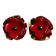 Vintage Massive YVES SAINT LAURENT Ysl Red Poppy Flower Earrings