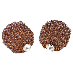 Vintage Massive YVES SAINT LAURENT Ysl Rhinestone Studded Earrings