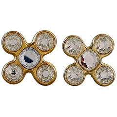 Vintage Massive YVES SAINT LAURENT Ysl Robert Goossens Jeweled Cross Earrings
