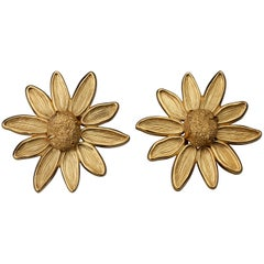 Vintage Massive YVES SAINT LAURENT Ysl Robert Goossens Nugget Flower Earrings