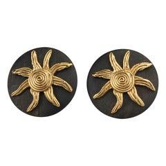Vintage Massive YVES SAINT LAURENT Ysl Spiral Sun Disc Wood Earrings
