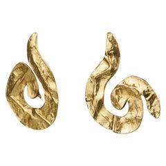 Vintage Massive YVES SAINT LAURENT Ysl Spiral Wrinkled Earrings