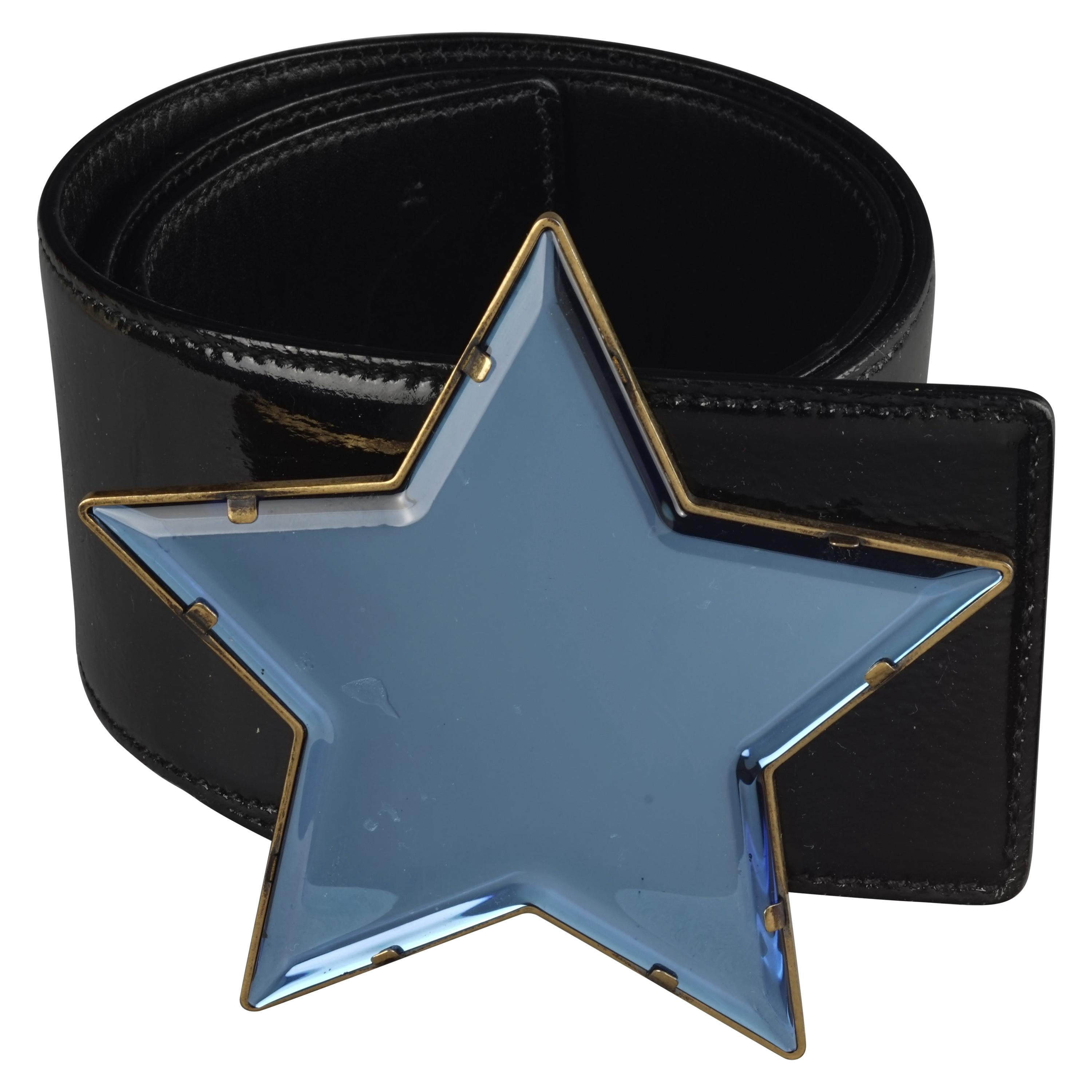 Vintage Massive YVES SAINT LAURENT Ysl Star Mirror Plexiglass Buckle Belt
