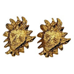 Vintage Massive YVES SAINT LAURENT Ysl Sun Face Earrings by Robert Goossens
