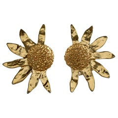 Vintage Massive YVES SAINT LAURENT Ysl Sunflower Earrings