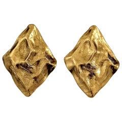 Vintage Massive YVES SAINT LAURENT Ysl Textured Diamond Shape Earrings