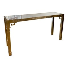 Vintage Mastercraft Polished Brass Greek Key Console Table Mirror Top