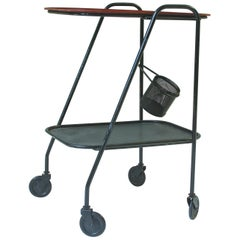 Vintage Mathieu Matégot Steel Bar Cart or Serving Trolley, France, 1950s