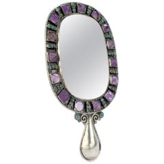 Vintage Matilde Poulat Mexican Sterling Silver Amethyst & Turquoise Hand Mirror