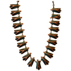Vintage Matisse Costume Green Enamel With Copper Necklace, 1960s