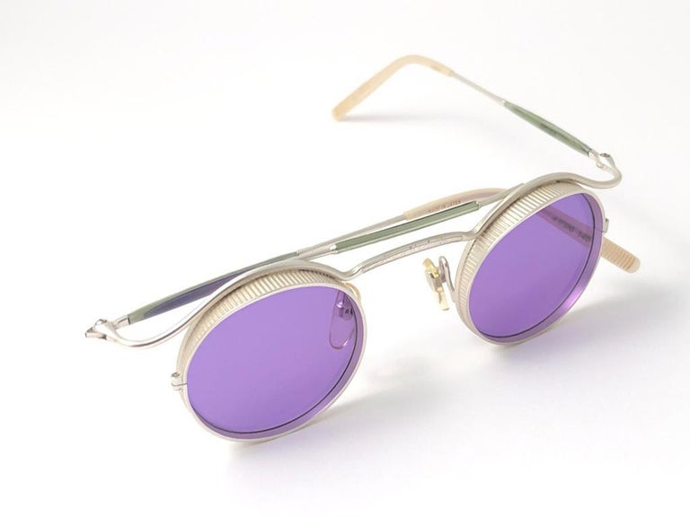 Gray  Vintage Matsuda 2903 Round Silver Matte Purple  1990's Made in Japan Sunglasses For Sale