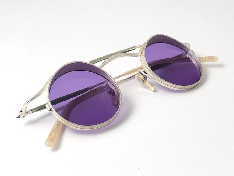Vintage Matsuda 2903 Round Silver Matte Purple  1990's Made in Japan Sunglasses In Excellent Condition For Sale In Amsterdam, Noord Holland