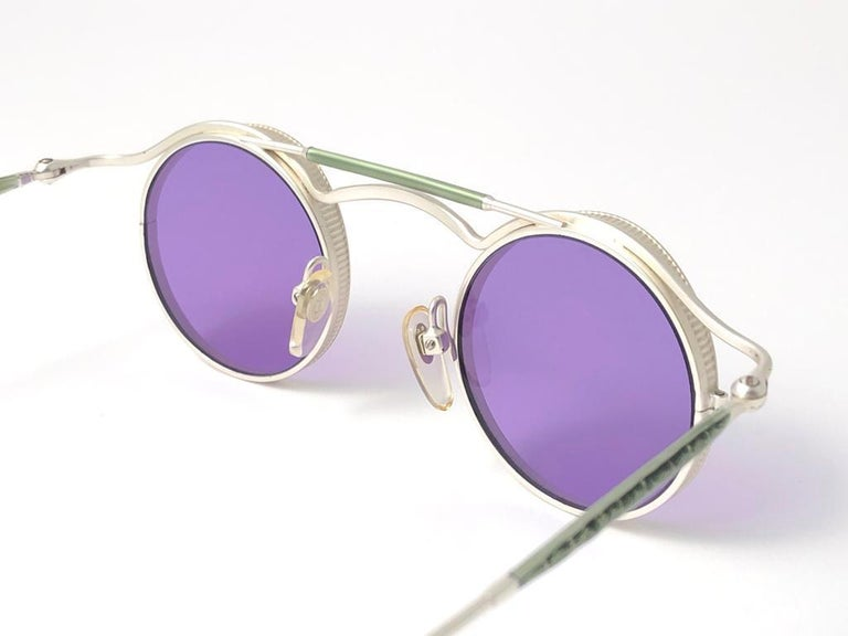 Women's or Men's  Vintage Matsuda 2903 Round Silver Matte Purple  1990's Made in Japan Sunglasses For Sale