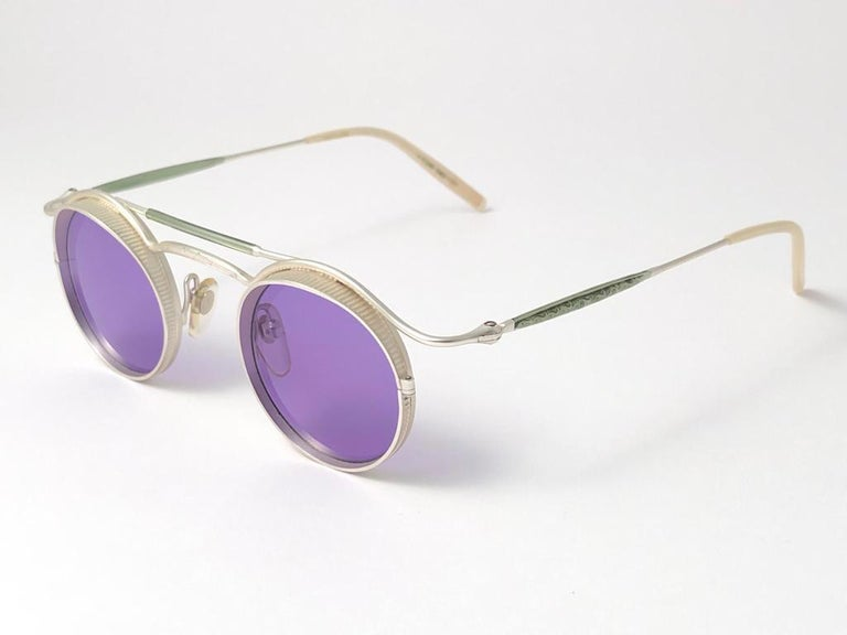 Vintage Matsuda 2903 Round Silver Matte Purple  1990's Made in Japan Sunglasses For Sale 2