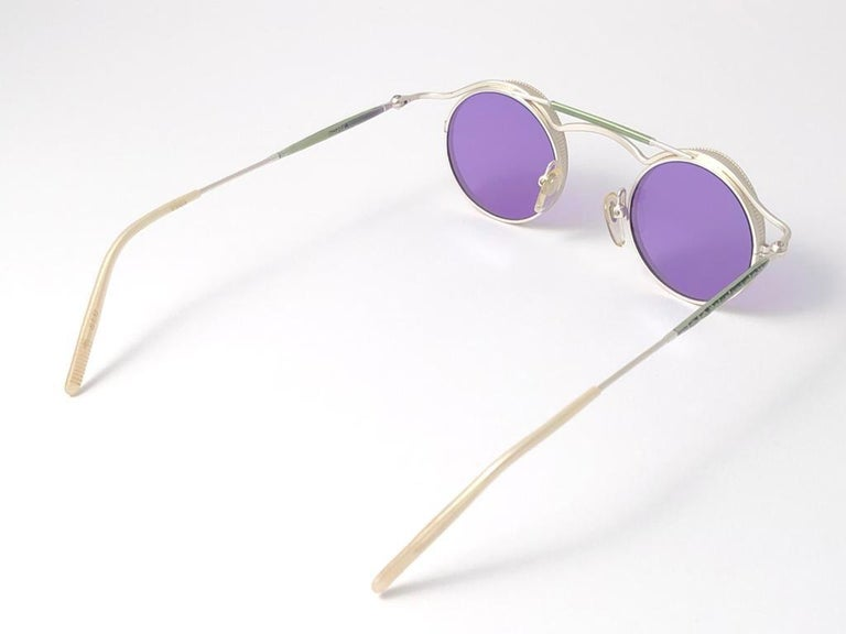 Vintage Matsuda 2903 Round Silver Matte Purple  1990's Made in Japan Sunglasses For Sale 3