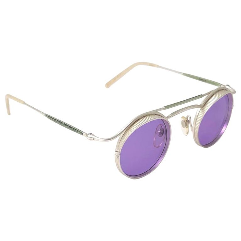 Vintage Matsuda 2903 Round Silver Matte Purple  1990's Made in Japan Sunglasses For Sale