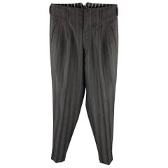 Vintage MATSUDA Size 32 Black Stripe Wool Zip Fly High Waisted Dress Pants
