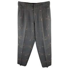 Vintage MATSUDA Size L Charcoal Window Pane Wool Pleated Dress Pants