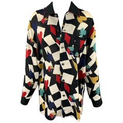 Vintage MATSUDA Size M Multi-Color Rayon Color Block Blouse
