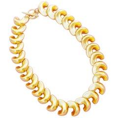 Vintage Matte Gold Swirl Link Necklace by Anne Klein, 1980s