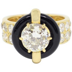 Vintage Montres Mauboussin 1.84 Carat Diamond and Onyx Ring, French