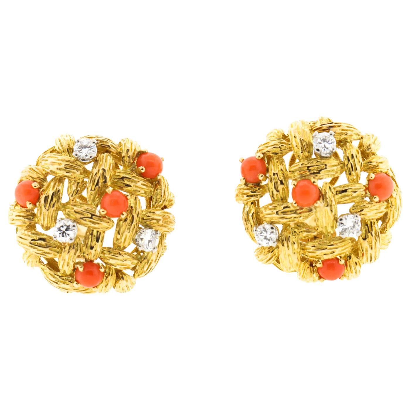 Vintage Mauboussin 18 Karat Gold Coral Diamond Basketweave Earclips