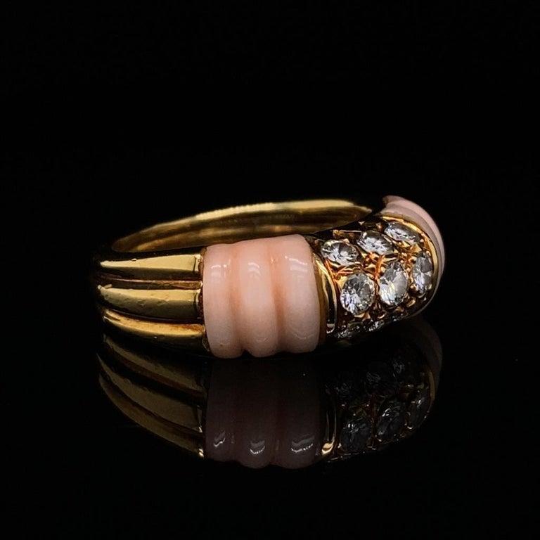 Retro Vintage Mauboussin Angel Skin Coral 18 Karat Yellow Gold Diamond Ring For Sale