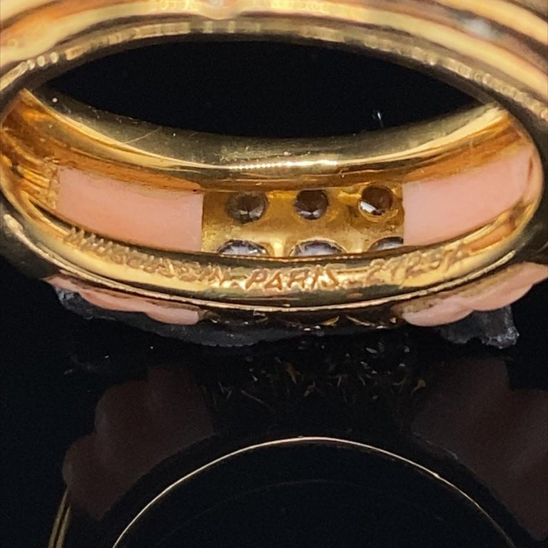 Vintage Mauboussin Angel Skin Coral 18 Karat Yellow Gold Diamond Ring In Good Condition For Sale In London, GB