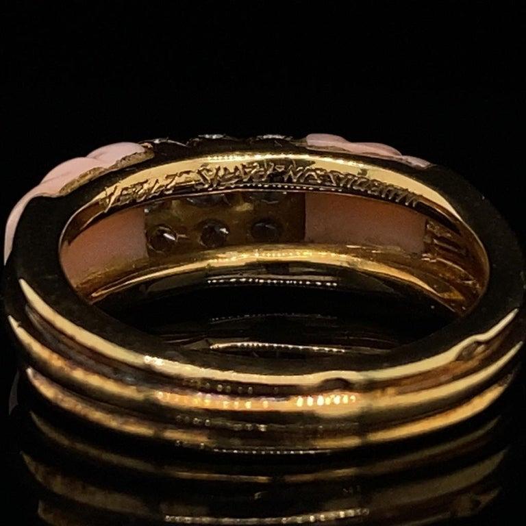 Women's Vintage Mauboussin Angel Skin Coral 18 Karat Yellow Gold Diamond Ring For Sale
