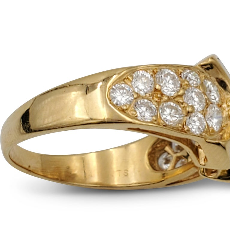 Vintage Mauboussin Gold Diamond Ring For Sale 1