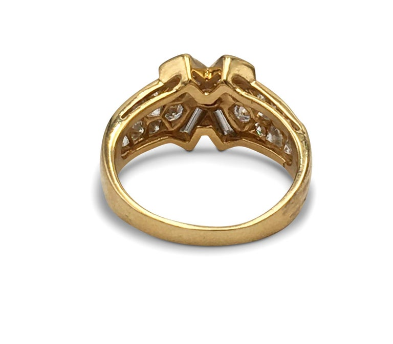Round Cut Vintage Mauboussin Gold Diamond Ring For Sale