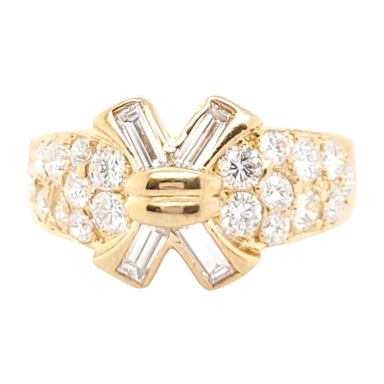Vintage Mauboussin Gold Diamond Ring For Sale