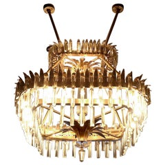 Vintage Maurice Bailey Brass Chandelier with Decorative Leaves, Murano Crystal