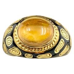 Vintage Mavito 18 Karat Yellow Gold Leopard Eye Enamel Cabochon Citrine Ring