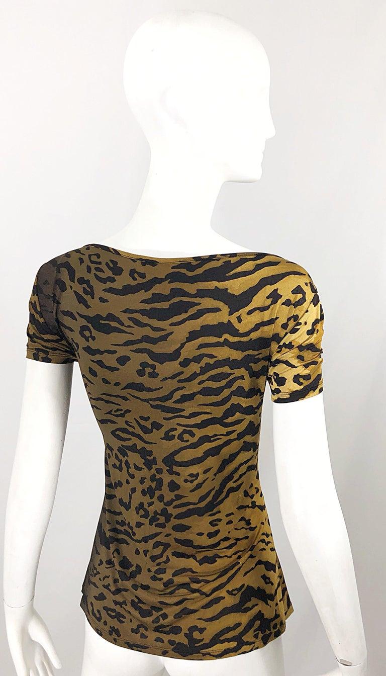 5ba14426f8be46 Vintage Max Mara. 1990s Leopard Cheetah Animal Print Faux Wrap Silk Jersey  Top For Sale