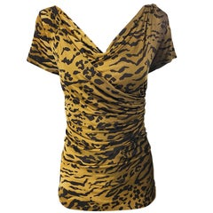 Vintage Max Mara. 1990s Leopard Cheetah Animal Print Faux Wrap Silk Jersey Top