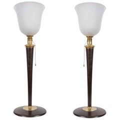 "Vintage Mazda ""Tulipe"" Art Deco Table Lamps, Rare Pair"