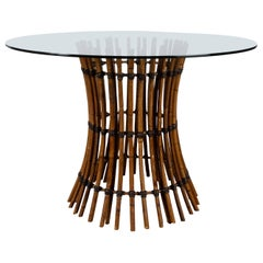 Vintage McGuire California Circular Glass & Bamboo Dining Table, USA, circa 1970