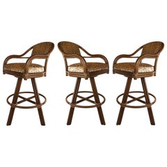 Vintage McGuire Rattan and Leather Swivel Bar Stools, Set of 3
