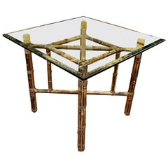 Vintage McGuire Rattan, Leather and Glass Games or Center Table
