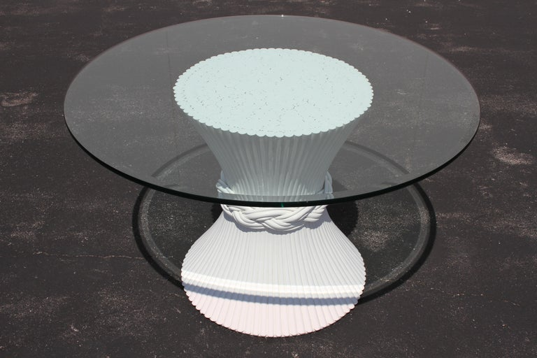 Hollywood Regency Vintage McGuire Rattan Sheaf of Wheat Form Dining Table, Original White Lacquer For Sale